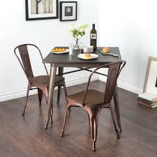 tabouret brushed copper wood seat bistro chairs set of 2 brown
