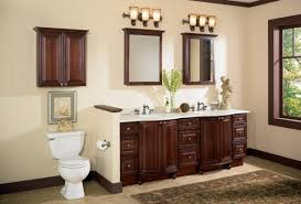 classic bathroom with dark brown lacquered wooden bathroom