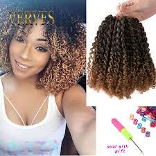Curly Hair Braid Extensions by 3 Pcs Set Sintetis Keriting Putar Kepang Crochet 8 Inch Keriting