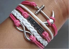 love braided bracelet images Infinity love anchor bracelet hot pink bird bracelets hipsters jpg