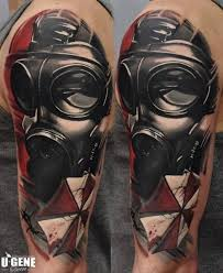 gas mask tattoo by redberry tattoo