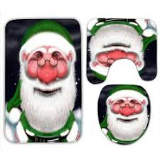 Santa Claus Rugs Santa Claus 3pcs Flannel Christmas Bath Rugs Set In Green