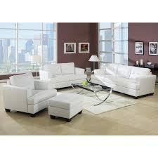 White Living Room Sets Kalush White Bonded Leather 3 Living Room Set 17511052 White