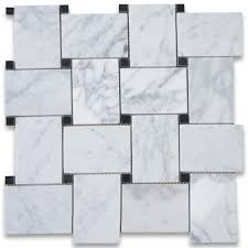 Tile Black And White Marble by Carrara White Large Basketweave Mosaic Tile W Black Dots Polished