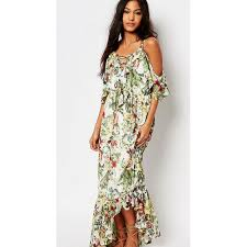 boohoo floral print ruffle neck maxi dress fanatic tourist