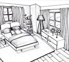 3d interior freehand sketch drawing plan view of furnished home