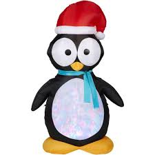 Outdoor Christmas Decorations At Home Depot Gemmy 7 5 Ft H Kaleidoscope Inflatable Penguin 87752 The Home Depot