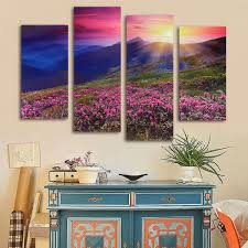 art painting for home decoration four cascade modern unframed mountain scene canvas painting