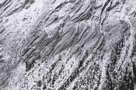 file granite striations on cliff face icefield parkway rocky