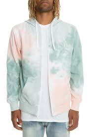 promo tie dye zip hoodie in pink