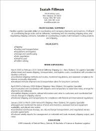 Receiving Clerk Job Description Resume by Professional Logistics Specialist Resume Templates To Showcase