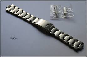 stainless steel bracelet links images Silver stainless steel oyster solid link curved ends watch band 5 jpg