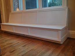 long white custom wooden wall mounted window storage bench with