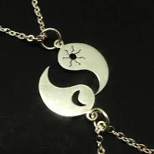 yin yang sun crescent moon necklace pendant charm yin yang