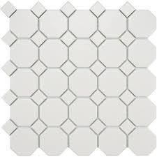 matte porcelain octagon tile white on white