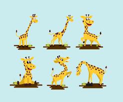 giraffe cartoon fun pose vector pack vector art u0026 graphics
