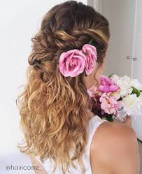 wedding flowers in hair 20 soft and sweet wedding hairstyles for curly hair 2018