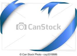 white blue ribbon blue ribbon around blank white paper where you should write clip