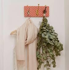 ziggy fabric mismatched coat rack with three hooks by deja ooh orange patterned coat rack 3 mismatched hooks colourful print hallway entrance hall