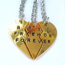Engravable Heart Necklace Engraved Best Friends Forever Heart Necklaces For 3 People