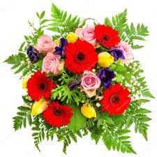 bouquet of spring flowers isolated on white u2014 stock photo