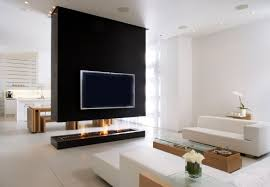 large flat screen tv with modern fireplace room divider design and