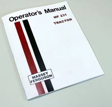 massey ferguson mf 231 tractor owners operators manual instruction