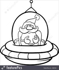 holidays santa in spaceship coloring page stock illustration
