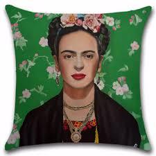 vintage cotton linen frida kahlo throw pillow case cushion cover