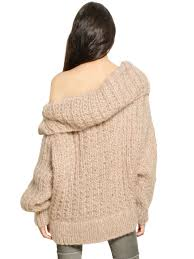 oversized shoulder sweater lyst mes demoiselles oversized the shoulder wool sweater in