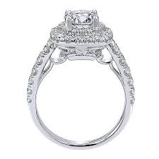 Circle Diamond Wedding Ring by 14k White Gold Two Tier Double Halo Round Diamond Engagement Ring