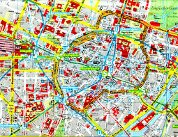 Munich Germany Map by Large Scale Detailed Road And Tourist Map Of Central Part Of