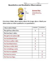 qualitative quantitative and inferences worksheets by katie thompson