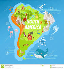 North America South America Map by Cartoon South America Continent Geographic Map Stock Vector