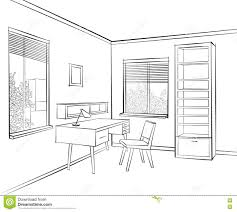 livign room interior sketch workplace in sunny room 1960s style