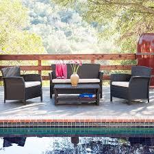 4 piece santa lucia outdoor wicker patio set slickdeals net