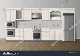 modern luxury kitchen modern luxury kitchen white cabinets builtin stock vector