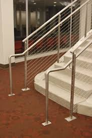 Height Of Handrails On Stairs stair railings made with rectangular stainless steel tubing posts
