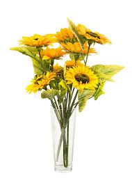 Vase Of Sunflowers Composition Of Artificial Sunflowers In Glass Vase Isolated On W