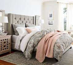 Bed With Headboard by Harper Upholstered Tufted Tall Bed U0026 Headboard Pottery Barn