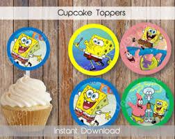 Spongebob Centerpiece Decorations by Spongebob Cupcake Etsy