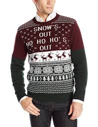 ugly christmas sweater men u0027s snow u0027s out pullover sweater at amazon