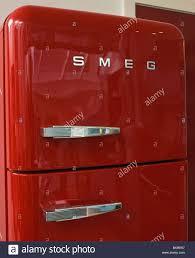 close up of red smeg fridge freezer stock photo royalty free