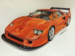 ferrari wall art ferrari f40 competizione drawing supercar by filo pinterest