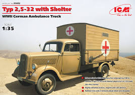 german opel blitz truck typ 2 5 32 with shelter wwii german ambulance truck icm 35402
