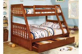 over full canberra oak mission style angled bunk bed trundle