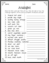 freebie this is a 20 question analogies worksheet it is good for