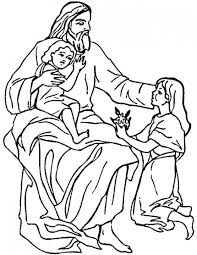 of jesus and children coloring page free download