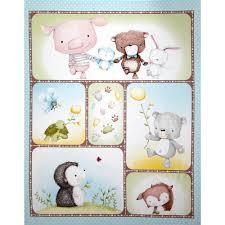 snuggle buddies picture panel aqua blue discount designer fabric