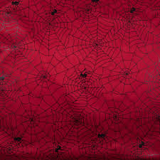 black spiders web on red foil print fabric love